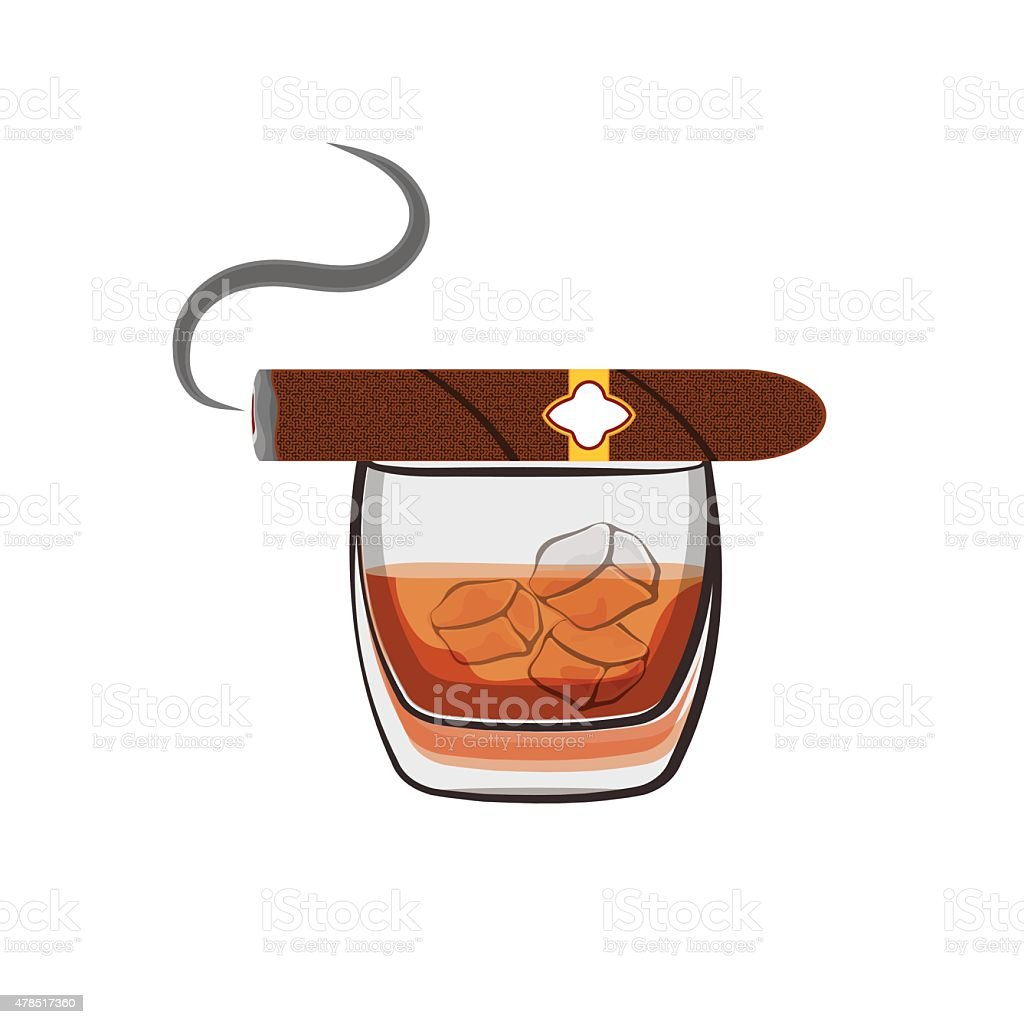 Whiskey with ice cubes and cigar vector art illustration