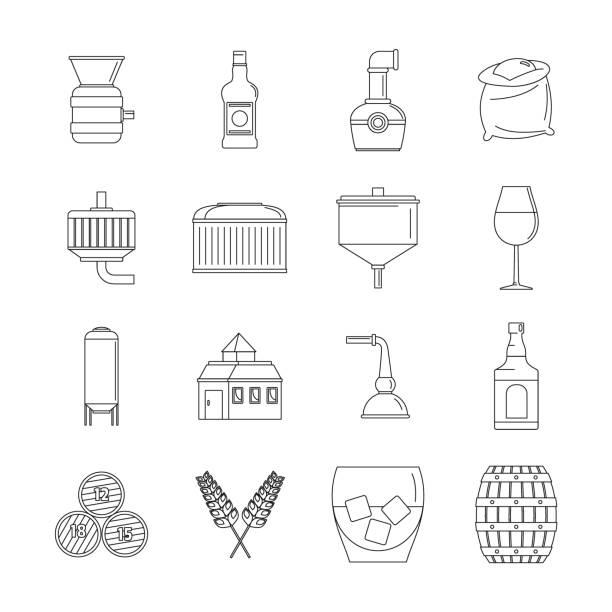 Whisky bottle glass icons set, outline style vector art illustration