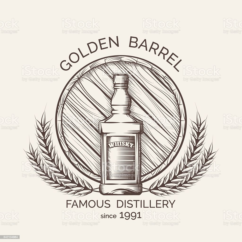 Whisky distillery emblem vector art illustration