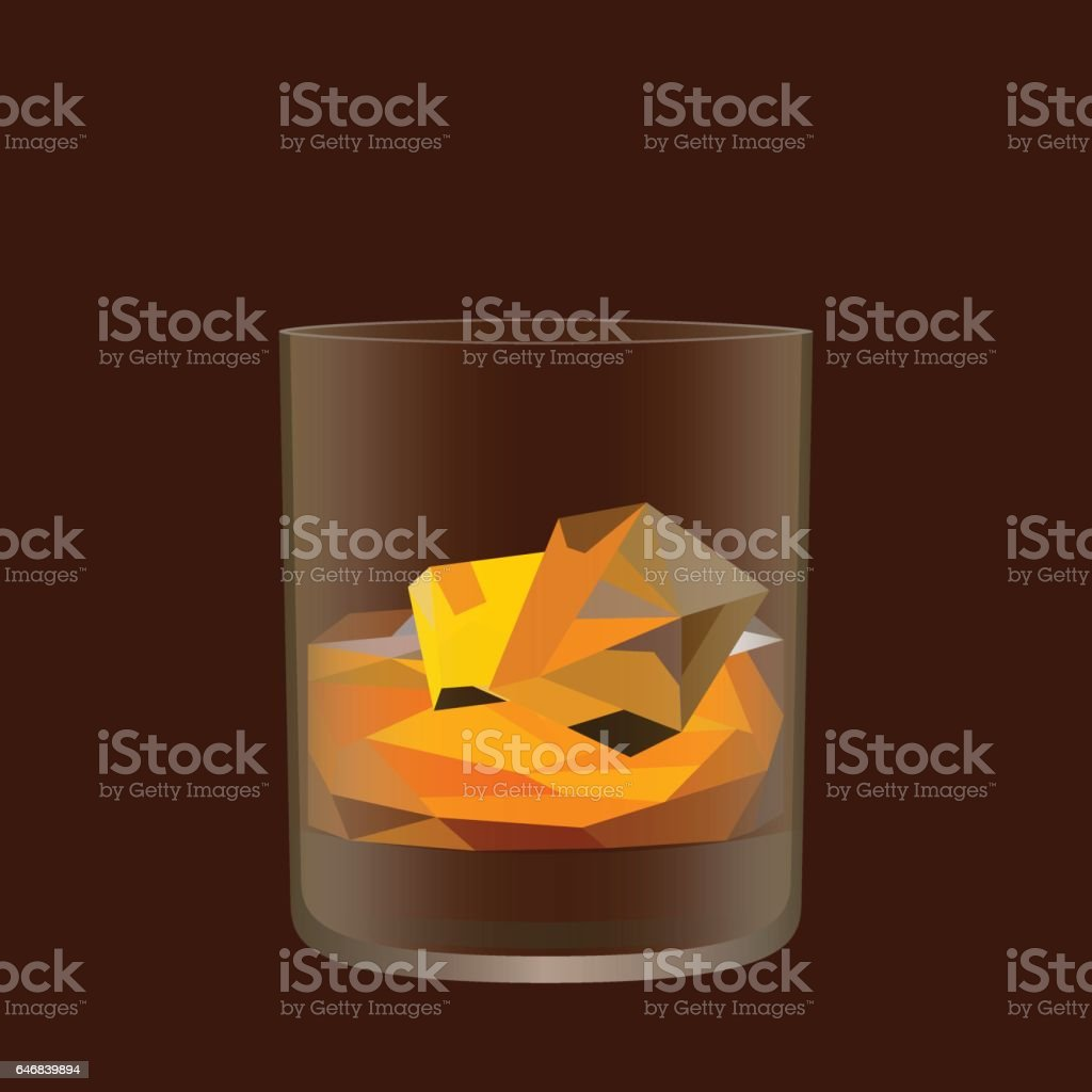 Whisky glass. Low poly and transparency vector design vector art illustration