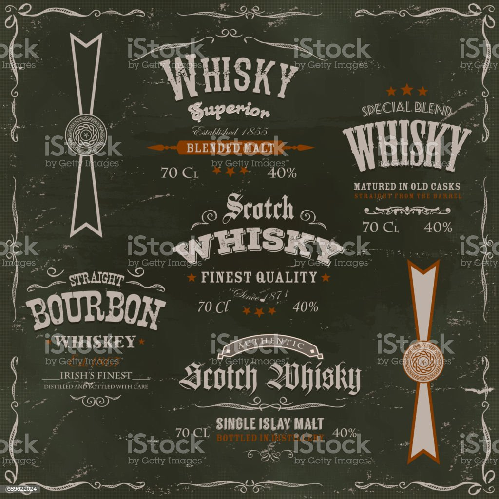 Whisky Labels And Seals On Chalkboard Background vector art illustration