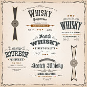 istock Whisky Labels And Seals On Vintage Background 489309374