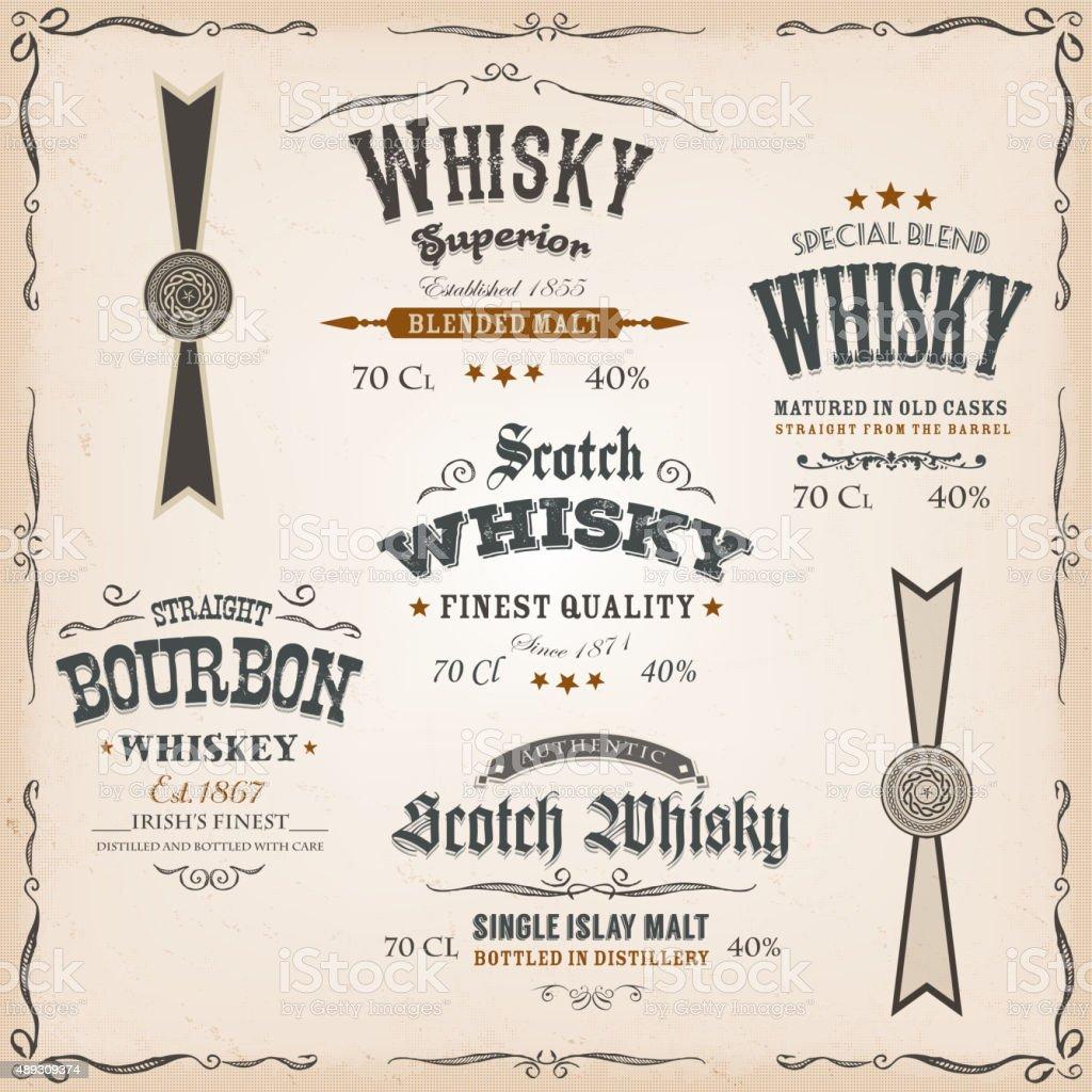 Whisky Labels And Seals On Vintage Background vector art illustration