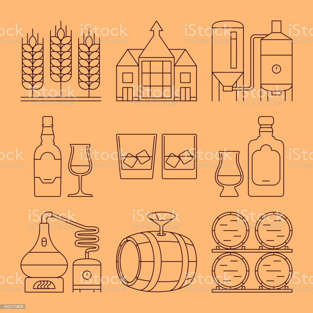 Whisky line icons set. Process and industry outline vector symbols vector art illustration