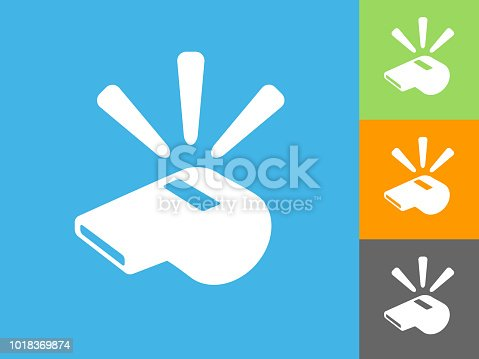 Whistle  Flat Icon on Blue Background. The icon is depicted on Blue Background. There are three more background color variations included in this file. The icon is rendered in white color and the background is blue.
