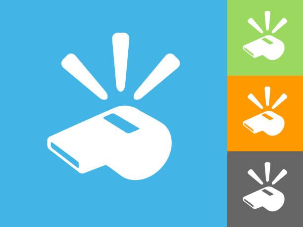 Whistle  Flat Icon on Blue Background vector art illustration
