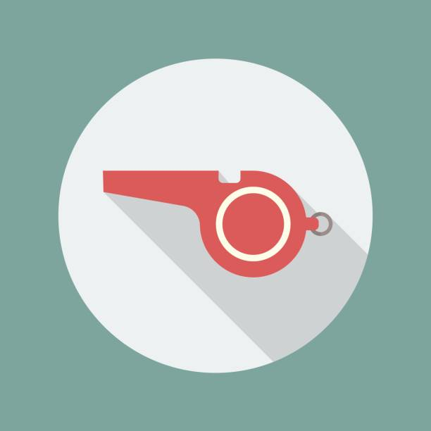 illustrazioni stock, clip art, cartoni animati e icone di tendenza di whistle flat icon - fischietto