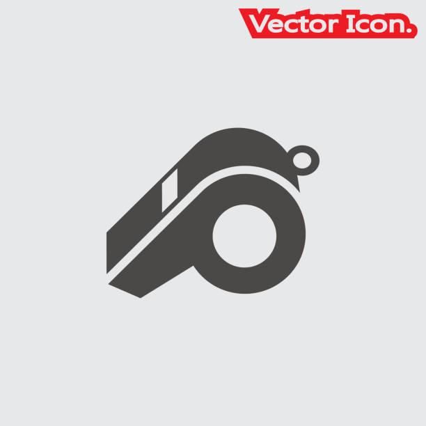 illustrazioni stock, clip art, cartoni animati e icone di tendenza di whistle icon isolated sign symbol and flat style for app, web and digital design. - fischietto