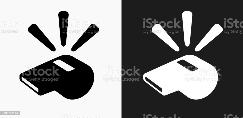 Whistle Icon on Black and White Vector Backgrounds vector art illustration