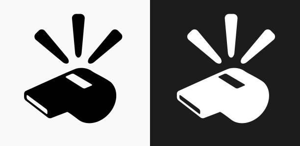 illustrazioni stock, clip art, cartoni animati e icone di tendenza di icona fischietto su sfondi vettoriali in bianco e nero - fischietto