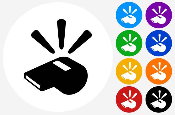 Whistle Icon on Flat Color Circle Buttons - ilustração de arte em vetor