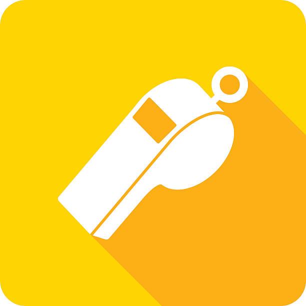 illustrazioni stock, clip art, cartoni animati e icone di tendenza di fischio icona silhouette - fischietto