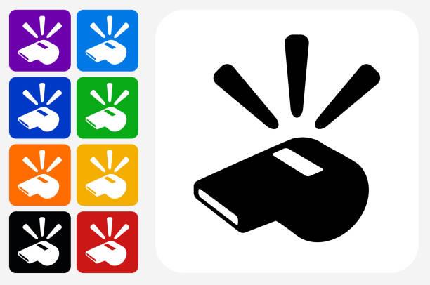 Conjunto de botão apito ícone quadrado - ilustração de arte em vetor