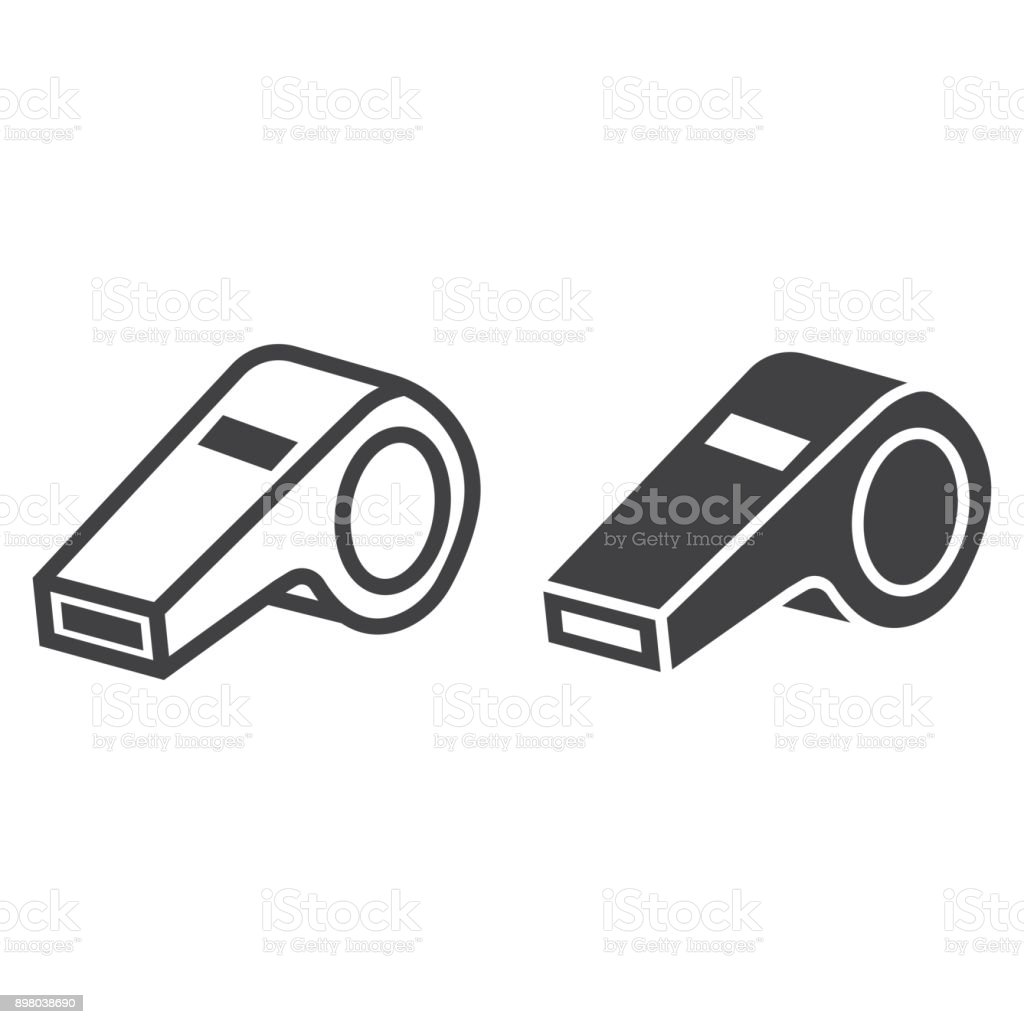 Whistle line and glyph icon, fitness and sport, referee sign vector graphics, a linear pattern on a white background, eps 10. royalty-free whistle line and glyph icon fitness and sport referee sign vector graphics a linear pattern on a white background eps 10 stock illustration - download image now