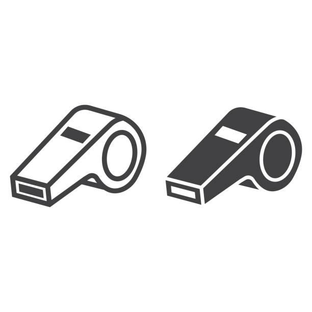 illustrazioni stock, clip art, cartoni animati e icone di tendenza di whistle line and glyph icon, fitness and sport, referee sign vector graphics, a linear pattern on a white background, eps 10. - fischietto