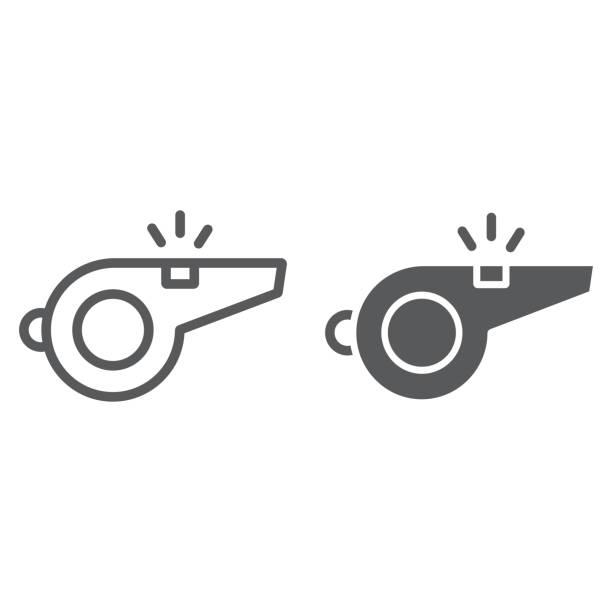 Assobie o ícone de linha e glifo, jogo e esporte, sinal, gráficos vetoriais, um padrão linear sobre um fundo branco, eps 10 o árbitro. - ilustração de arte em vetor