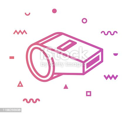 Whistle outline style icon design with decorations and gradient color. Line vector icon illustration for modern infographics, mobile designs and web banners.