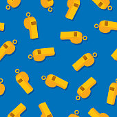 Vector illustration of gold whistles in a repeating pattern against a blue background.