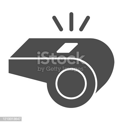istock Whistle solid icon. Soccer or football referee coach alert symbol, glyph style pictogram on white background. Sport sign for mobile concept and web design. Vector graphics. 1213313547