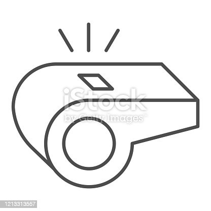 istock Whistle thin line icon. Soccer or football referee coach alert symbol, outline style pictogram on white background. Sport sign for mobile concept and web design. Vector graphics. 1213313557