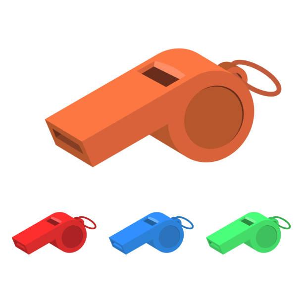 illustrazioni stock, clip art, cartoni animati e icone di tendenza di whistle vector design illustration - fischietto