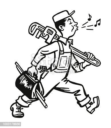 Whistling Plumber Walking to Work