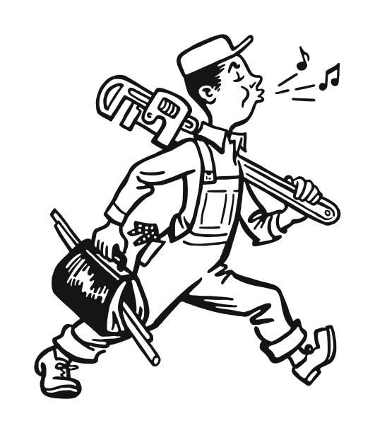 whistling plumber walking to work - handyman stock illustrations