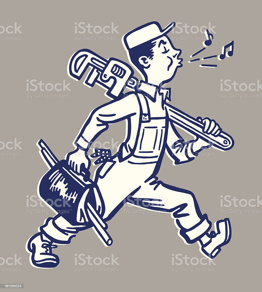 Whistling Plumber Walking to Work vector art illustration