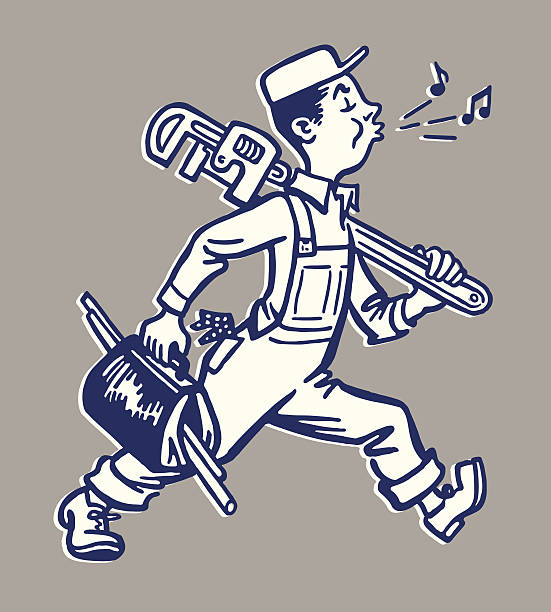 whistling plumber walking to work - plumber stock illustrations, clip art, cartoons, & icons