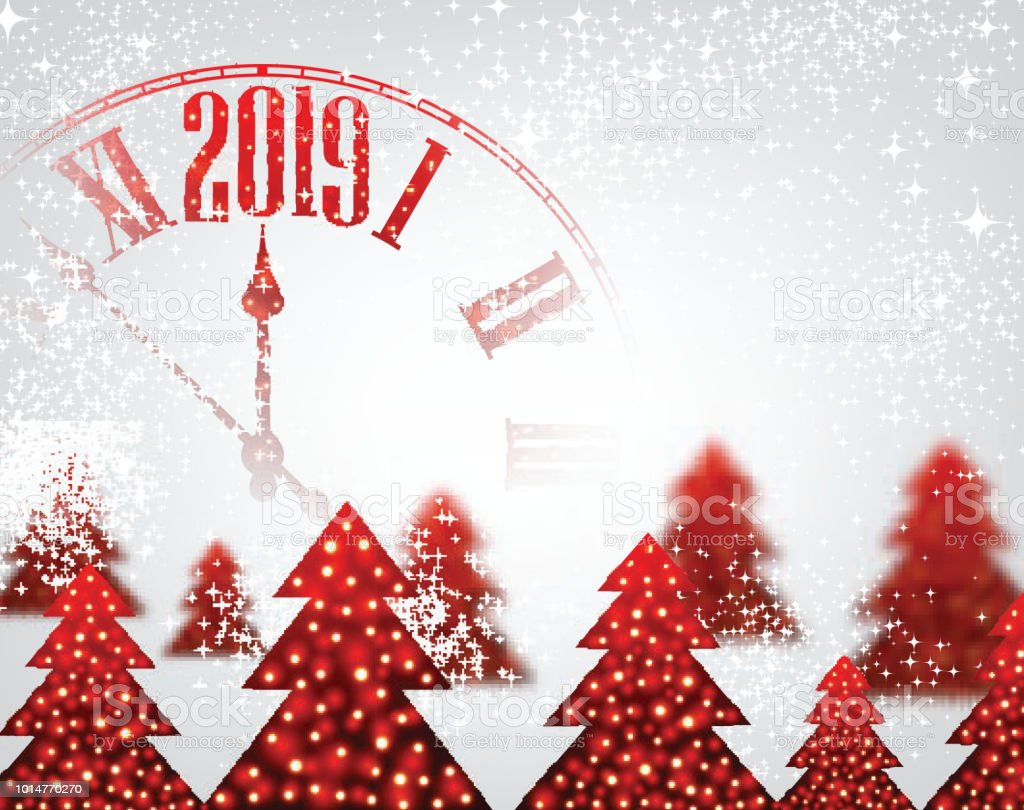 white 2019 new year background with clock and christmas trees royalty free white 2019