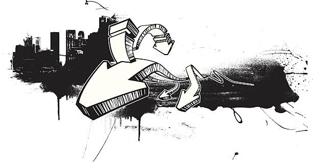 White 3D arrows over black cityscape silhouette vector art illustration
