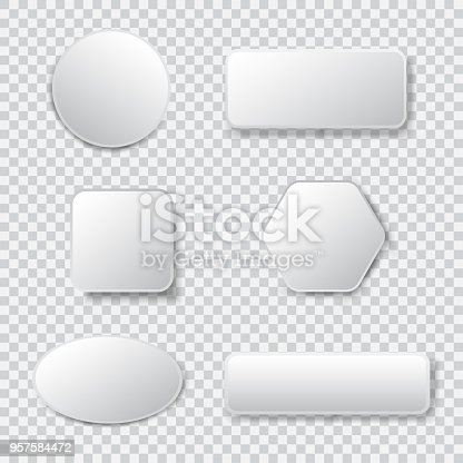 istock White 3d blank square and rounded button vector set 957584472