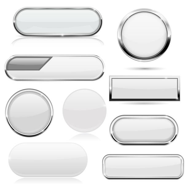white 3d buttons with metal frame - przycisk stock illustrations