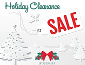 Holiday sale ad with 3D paper style trees and snow. Great for holiday sales, Boxing day sales or greeting cards.