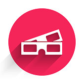 istock White 3D cinema glasses icon isolated with long shadow. Red circle button. Vector Illustration 1223023793