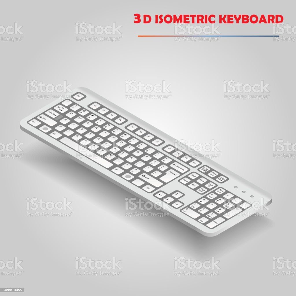White 3d computer keyboard vector royalty-free stock vector art