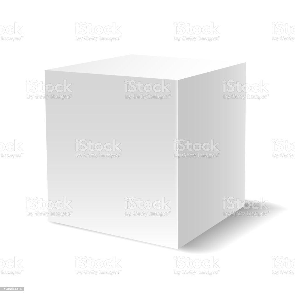화이트 3 차원 큐브 - 로열티 프리 0명 벡터 아트