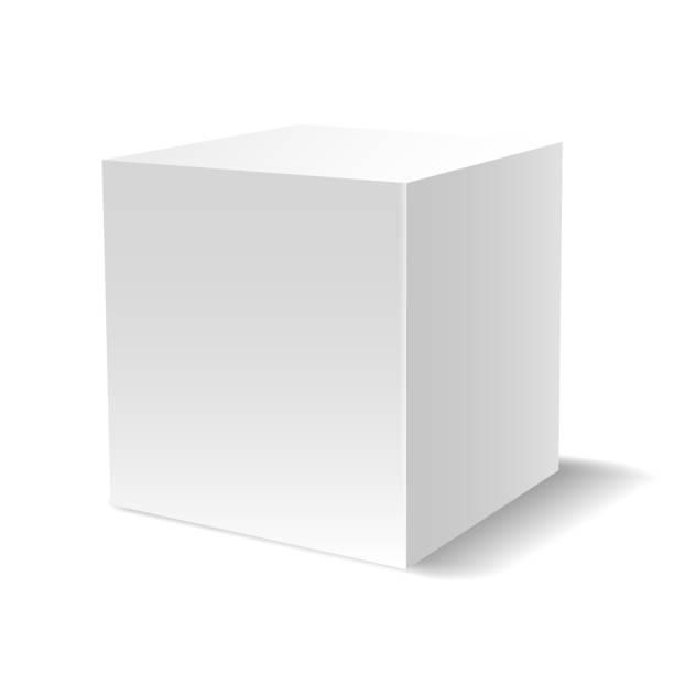 White 3D cube White cube. 3d light gypsum primitive block, vector design emptyplatform pedestal or blank podium isolated on white background cube shape stock illustrations