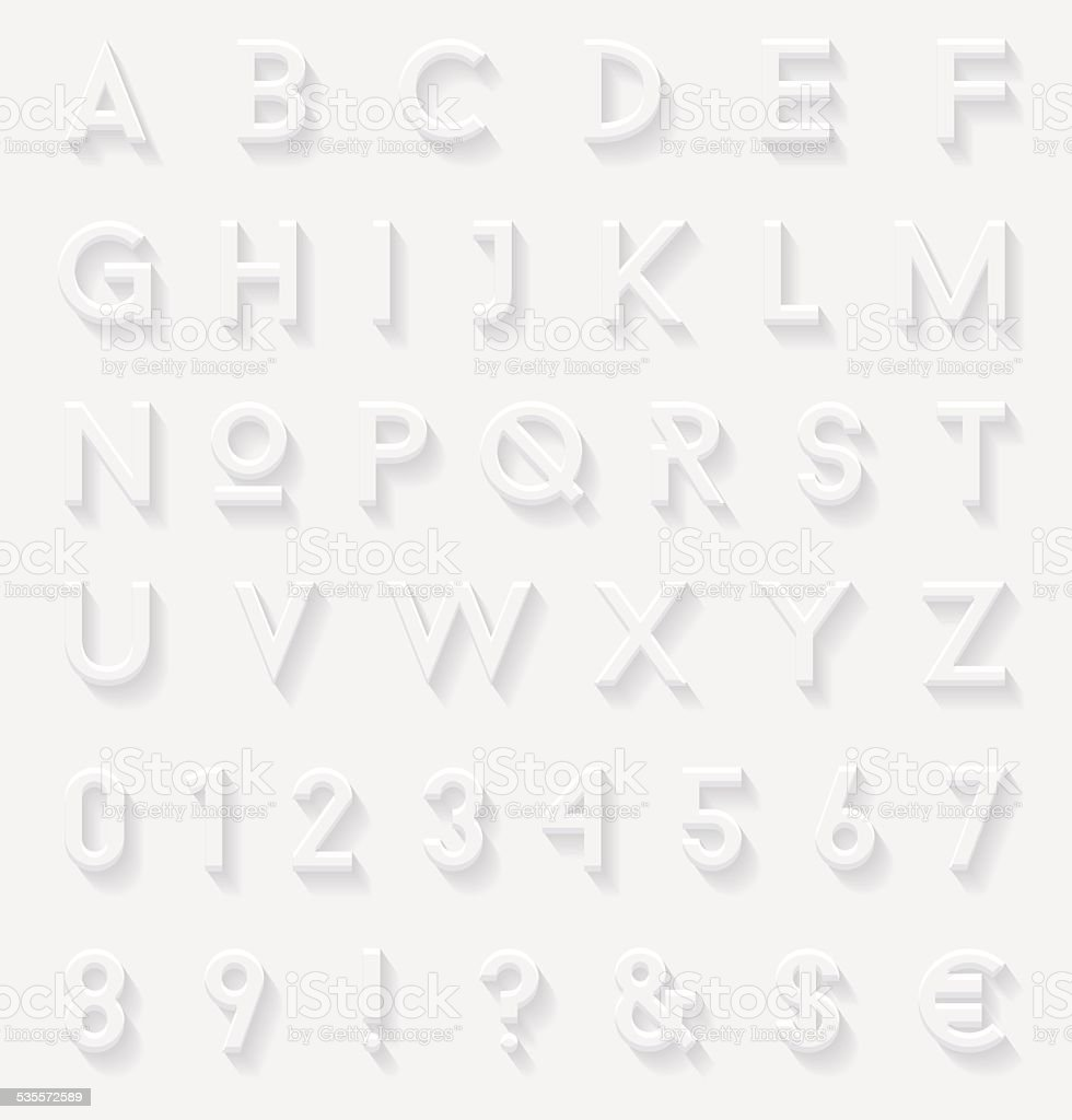 White 3d letters set vector art illustration
