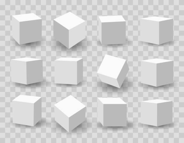 White 3d modeling cubes White blocks. 3d modeling white cubes vector illustration three dimensional stock illustrations