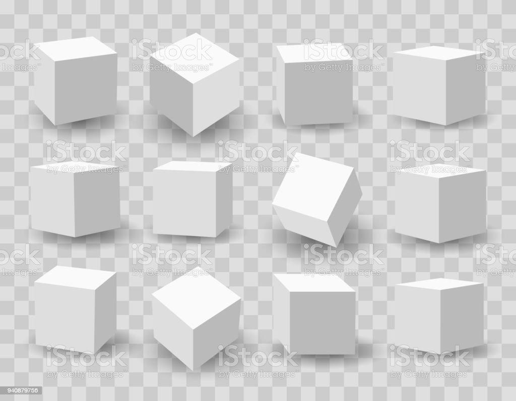 White 3d modeling cubes vector art illustration
