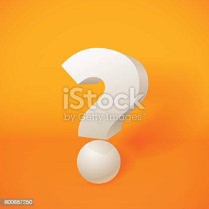 istock White 3d question mark on orange background 600687250