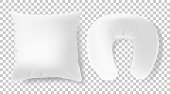 White 3d realistic pillows - square and road neck pillow mock up