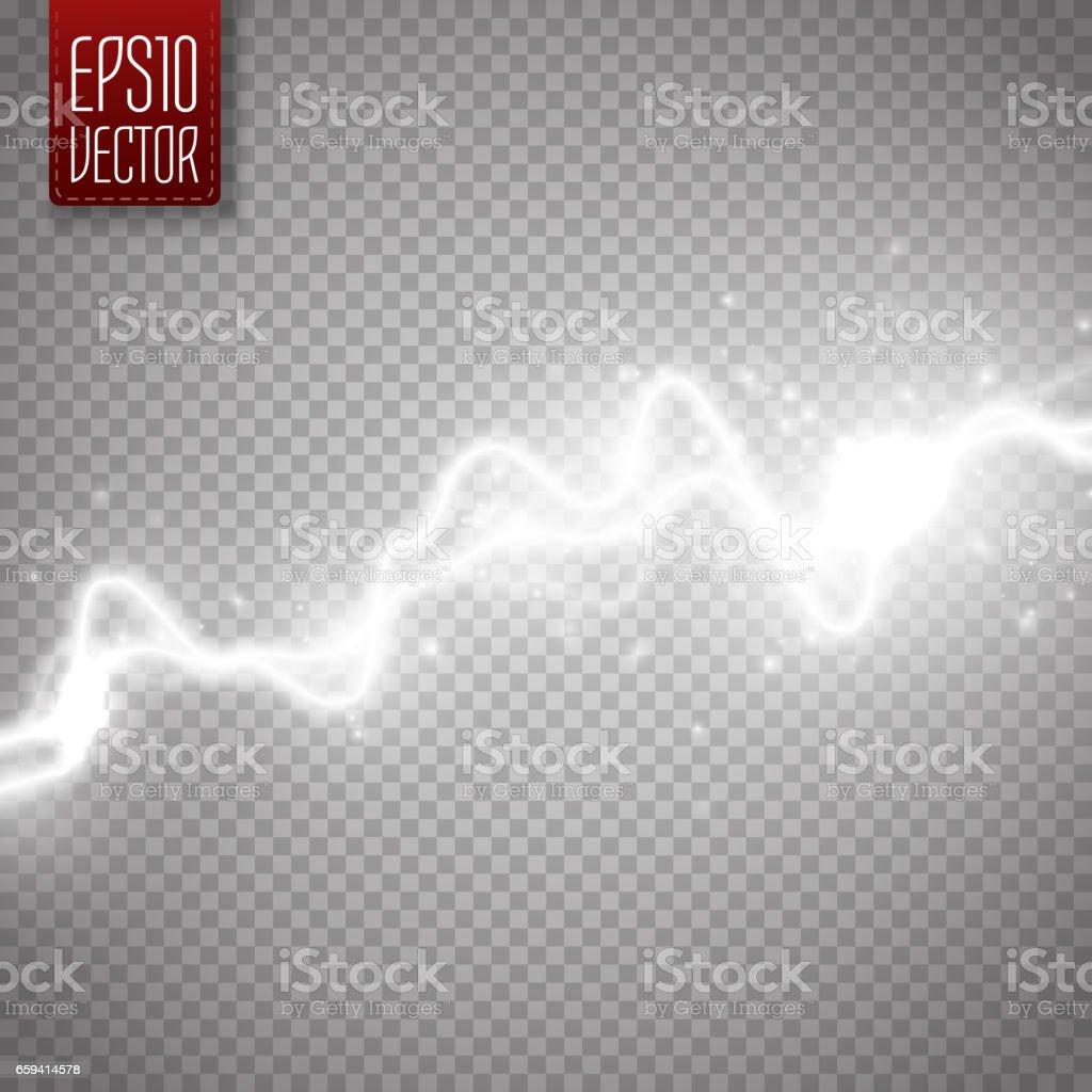 White abstract energy shock effect. Electric discharge isolated. Vector Lightning - ilustração de arte vetorial