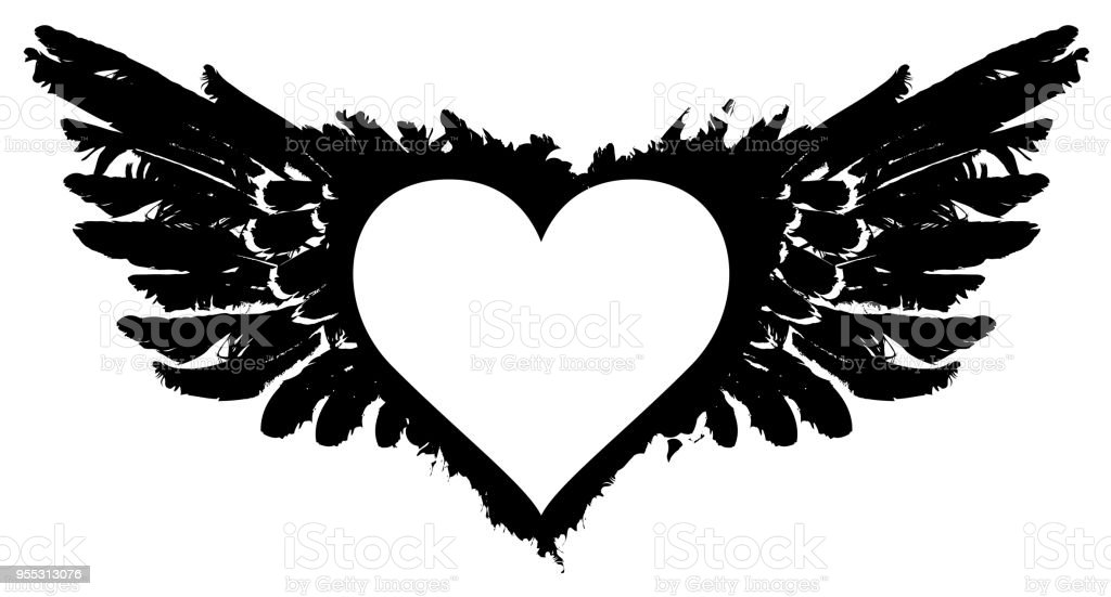 White Abstract Flying Heart With Black Wings Stock Illustration Download Image Now Istock