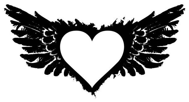 illustrations, cliparts, dessins animés et icônes de abstrait blanc vole le coeur avec des ailes noires - tatouages ailes