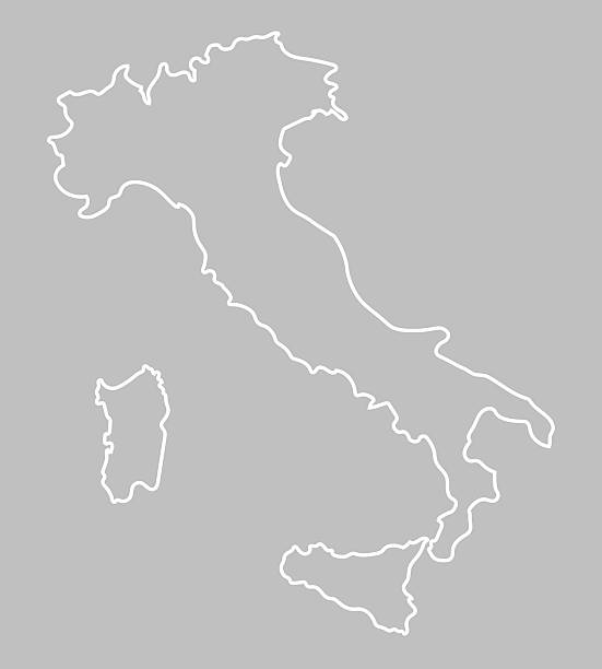 white abstract outline of Italy map abstract  vector outline of Italy map calabria stock illustrations