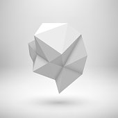 White abstract shape with low-poly, polygonal triangular mosaic texture and realistic shadow for , design concepts, web, presentations and prints. Realistic 3D render design. Vector illustration.