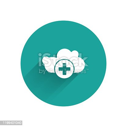 istock White Add cloud icon isolated with long shadow. Data storage on the cloud. Green circle button. Vector Illustration 1199401040