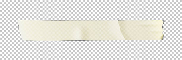 White adhesive or masking tape piece isolated on transparent background. Vector design element. White adhesive or masking tape piece isolated on transparent background. Vector design element masking tape stock illustrations